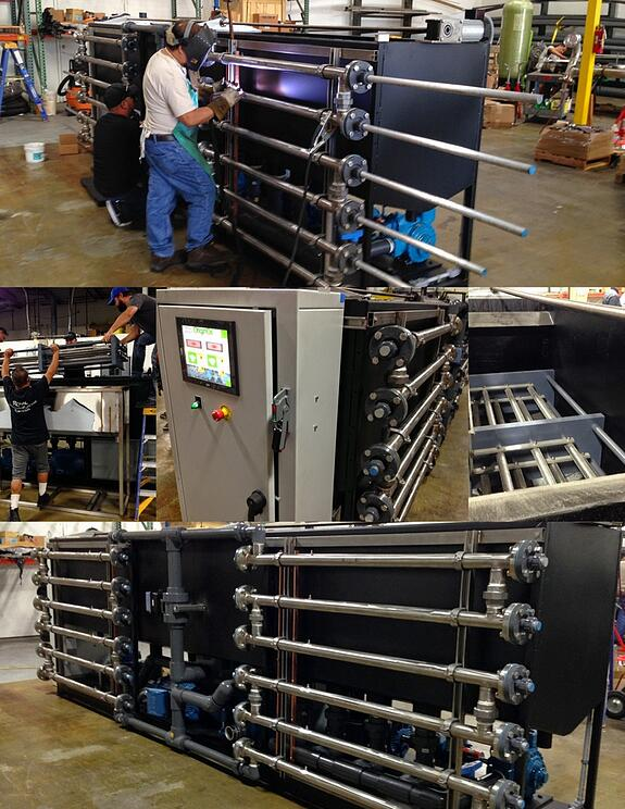 Assembling OriginOil's GEN 2 prototype,  featuring touch-screen controls and double-banked Single Step Extraction™ tubes.