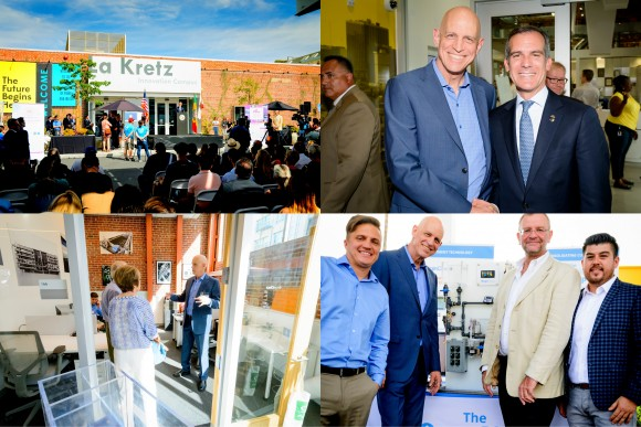 The OriginClear team participates with Mayor Eric Garcetti in the ribbon-cutting of a brand-new facilit
