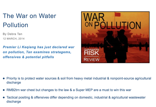 War on Water Pollution - China