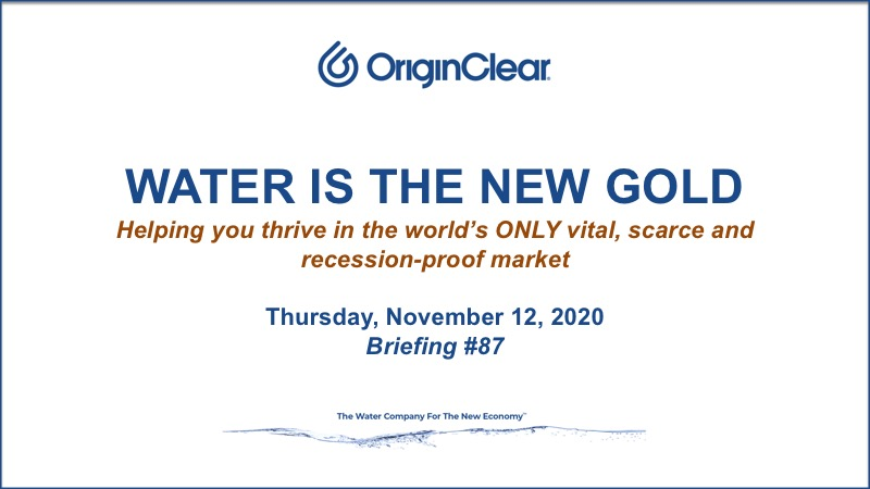 Water is the New Gold 12 November 2020 date slide