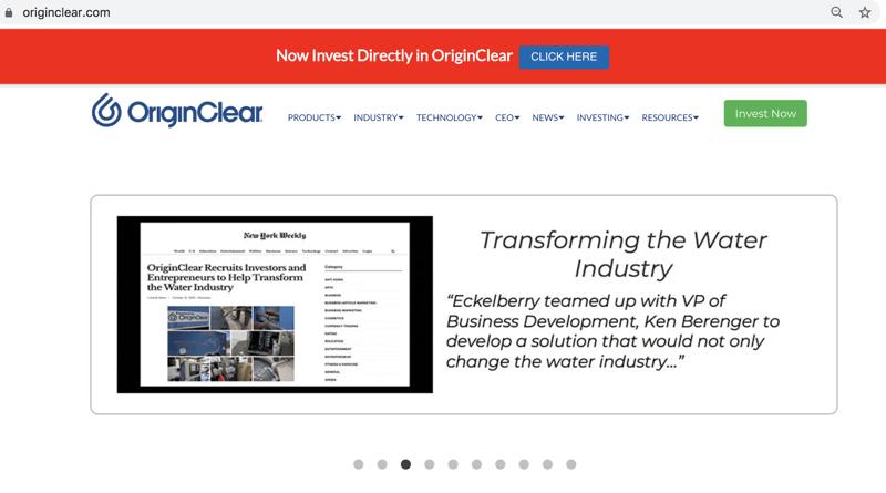 OriginClear website investing navigation paths