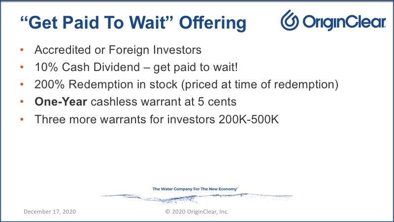 Get paid to wait offering