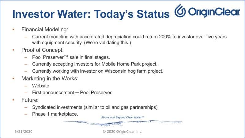 Investor Water status slide