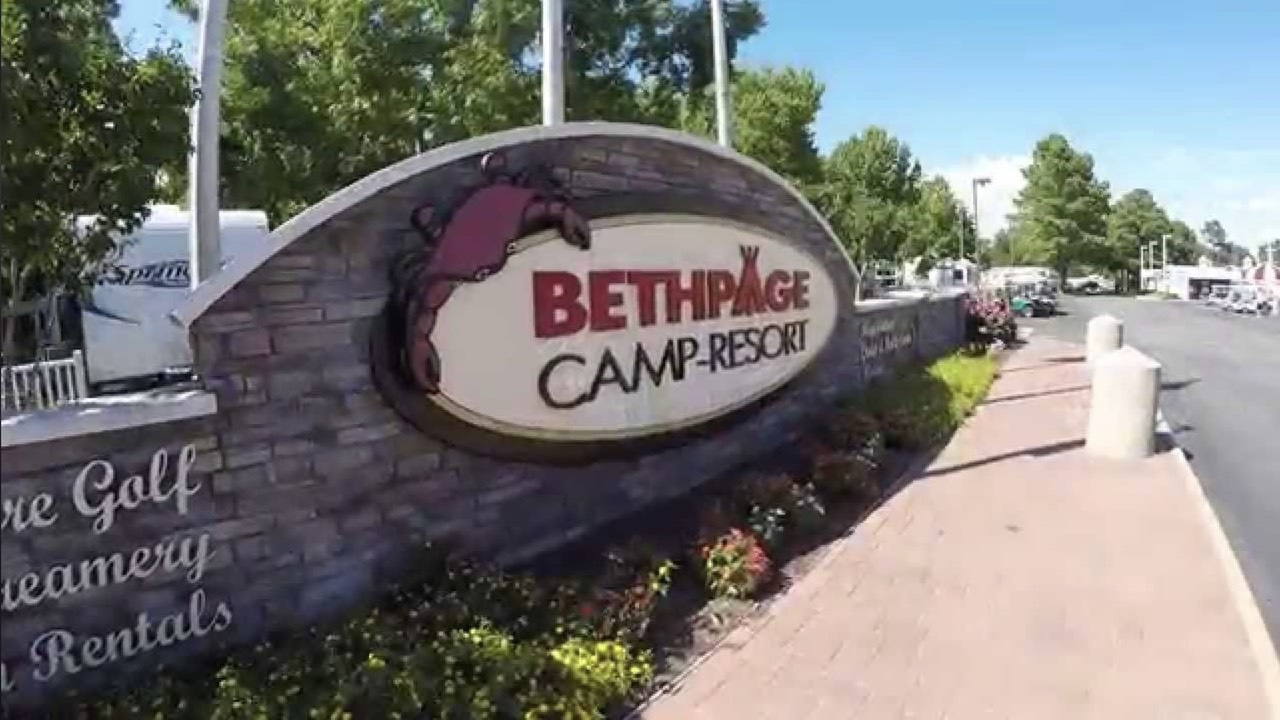 Bethpage Camp Resort  entryway sign ft