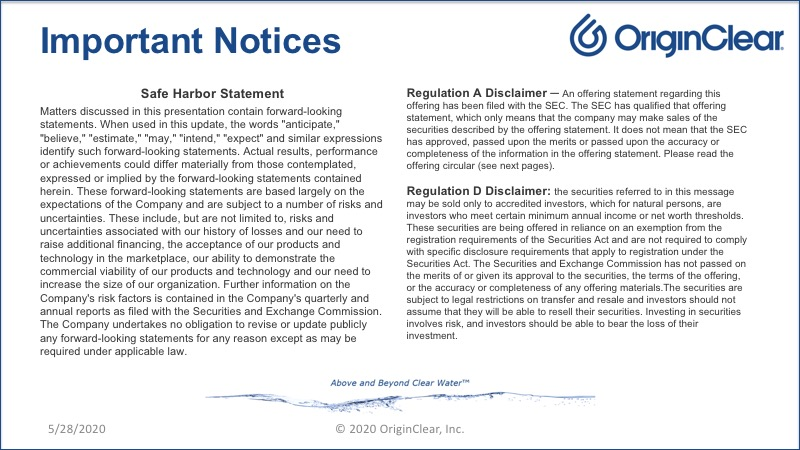 Important Notices - Forward Looking Statements
