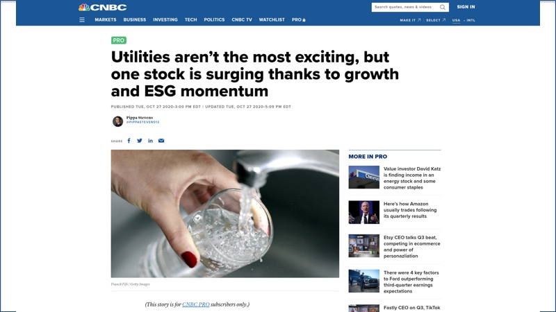 CNBC article about American Water Works and ESG