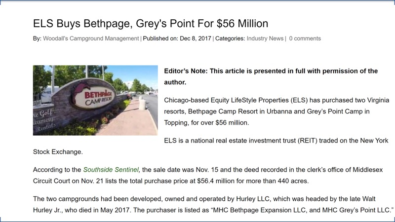 article on ELS buying Bethpage, Grey's Point