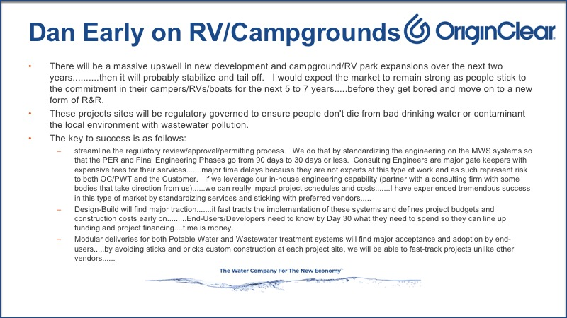 OriginClear's Chief Engineer Dan Early on RV/Campgrounds
