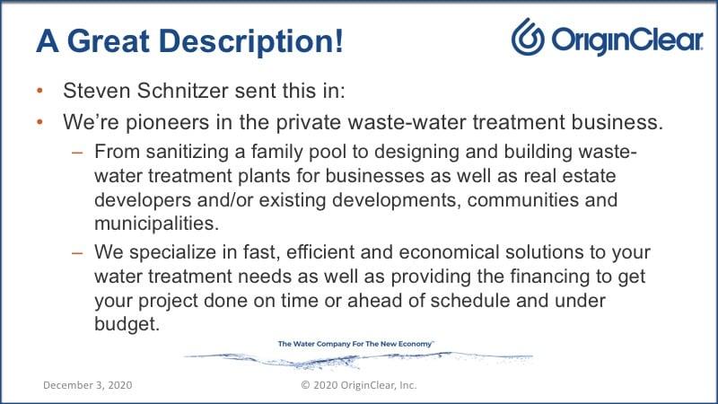 Shareholder volunteered description of OriginClear