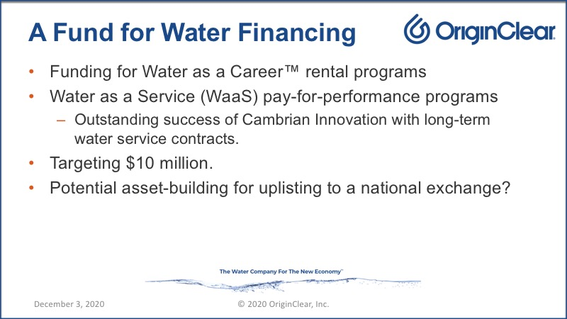 OriginClear's fund for water project and equipment financing