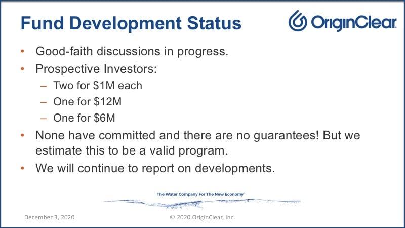 Status report of the OriginClear fund's development