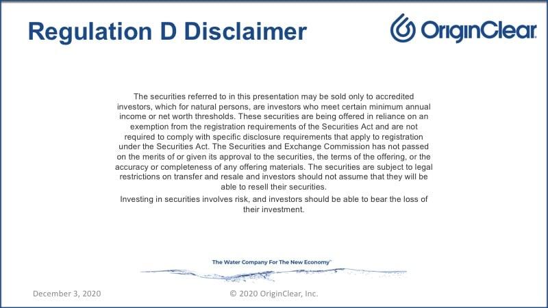 Regulation D disclaimer