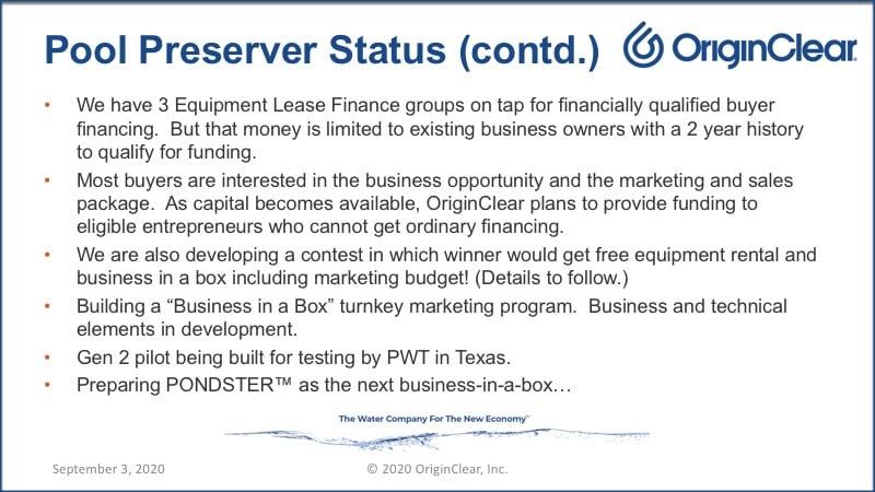 20200903 Pool Preserver Status Report Contd