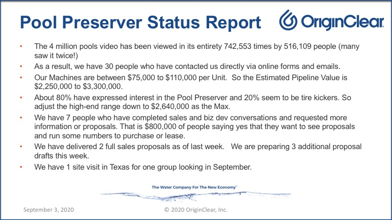 20200903 Pool Preserver Status Report