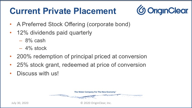Current Private Placement