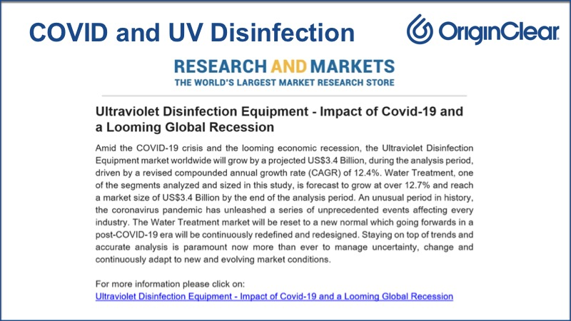 Research and Markets COVID and UV Disinfection analysis