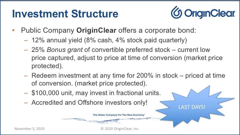 OriginClear's alternative investment structural advantages