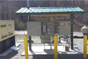 On-site control station adjacent to installation
