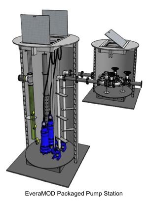 3D rendering cutaway of standard pump station with valve vault