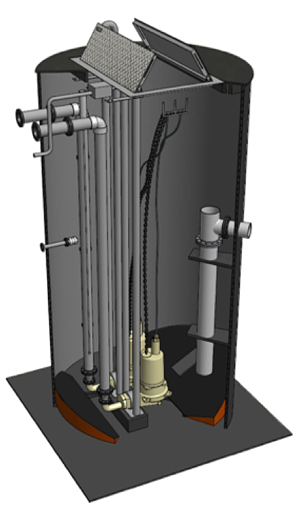 Typical pump station configuration and construction