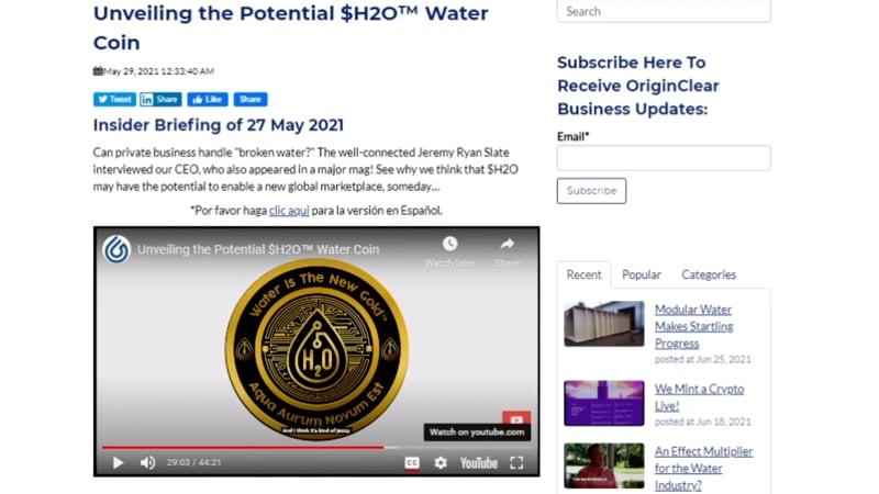 $H2O coin announcement
