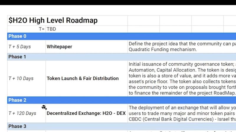 High level roadmap