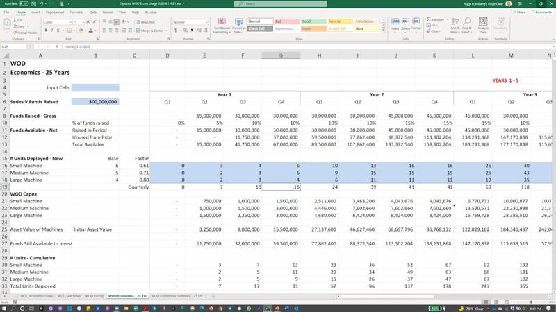 Series V spreadsheet