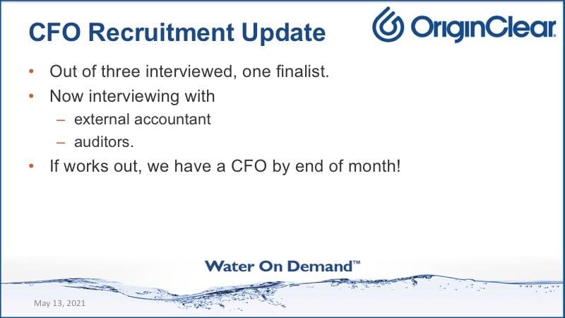 CFO Recruitment update