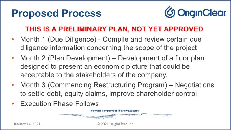 Preliminary restructuring plan