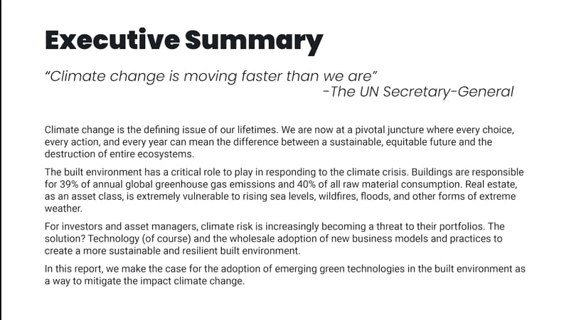 Climate change defining issue