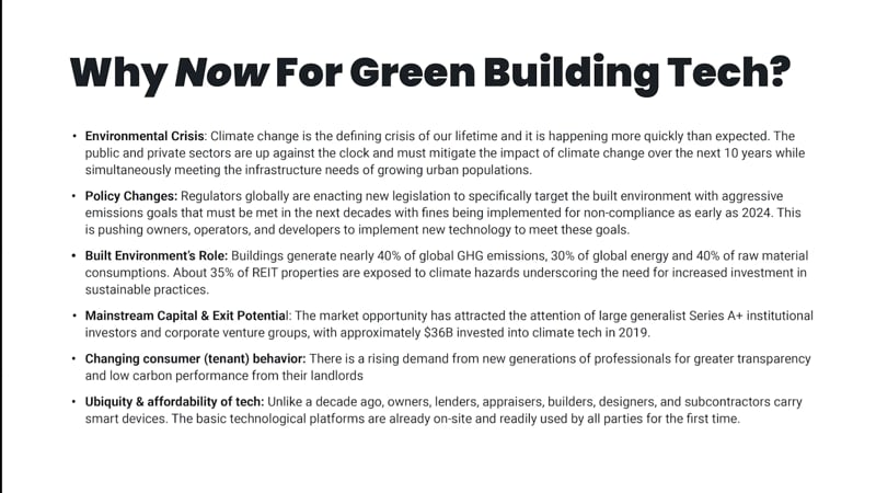 Why now - green building tech
