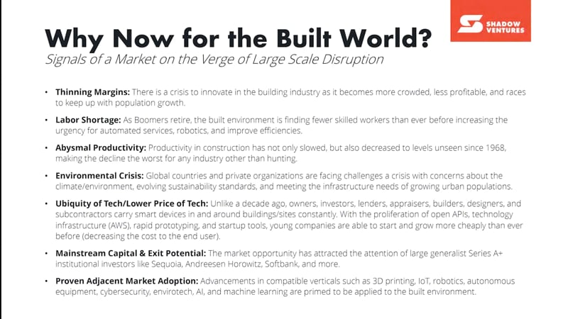 Why now for built world