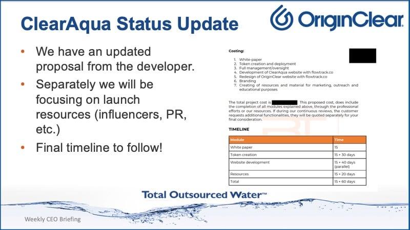 ClearAqua status report