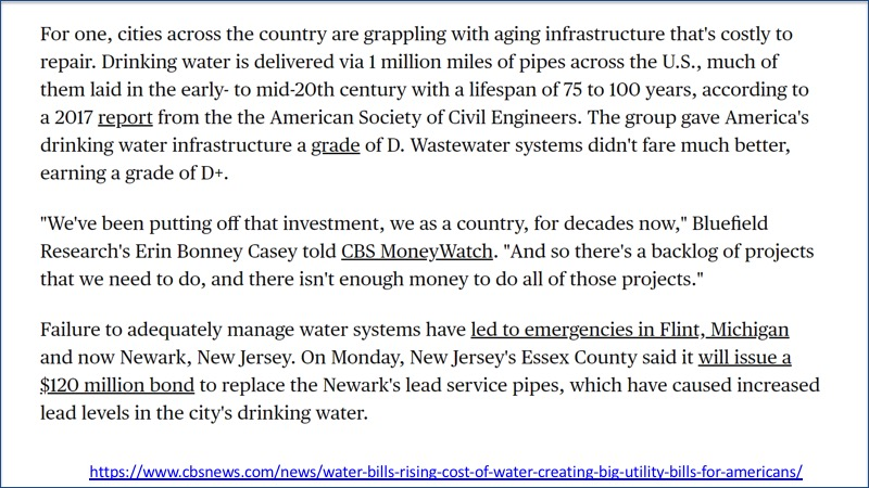 Quote on state of water infrastructure