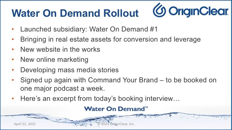 Water on Demand rollout