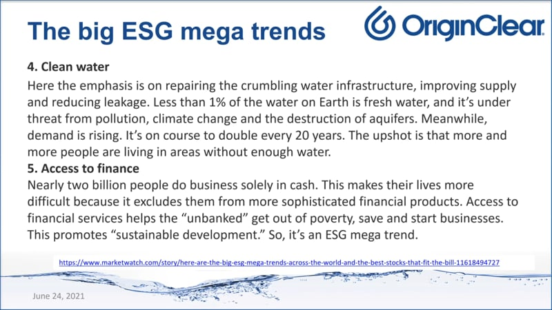 ESG - Clean Water Finance Access