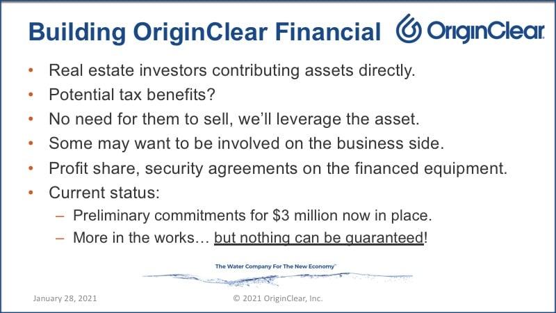 Building OriginClear Financial;