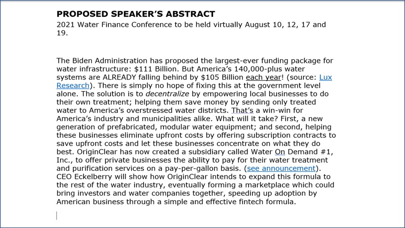 Proposed Speakers abstract