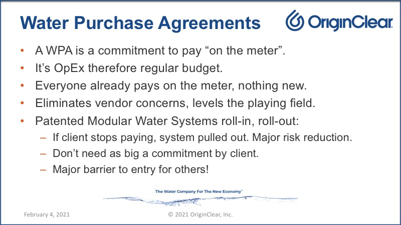 Water purchase agreements