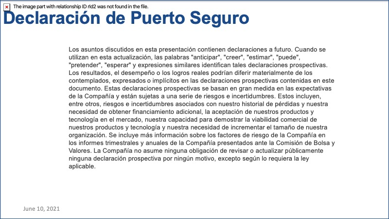 CEO Briefing Spanish safe harbor