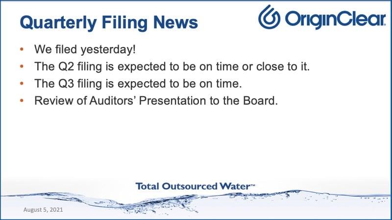 Quarterly filing