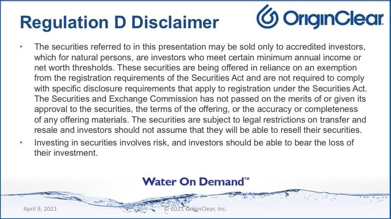 Reg D disclaimer