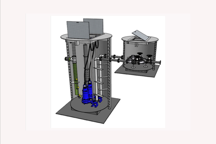Pump Station 3d rendering-c