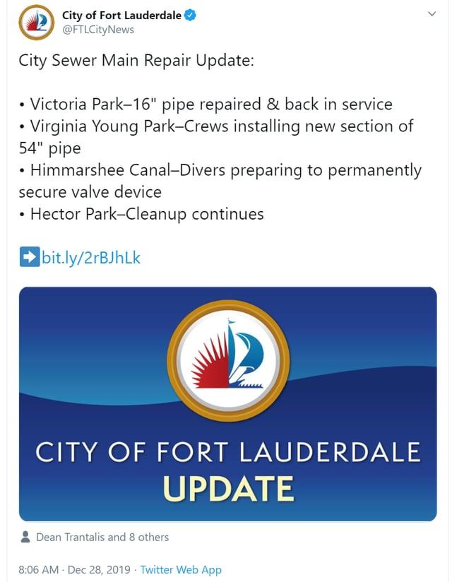 Ft Lauderdale City Sewer Mains Break