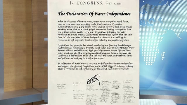 OriginClear's Declaration of Water Independence